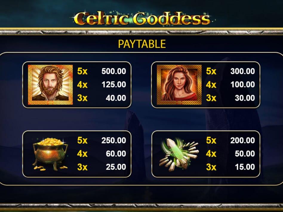 Celtic Goddess Pay Table Casino