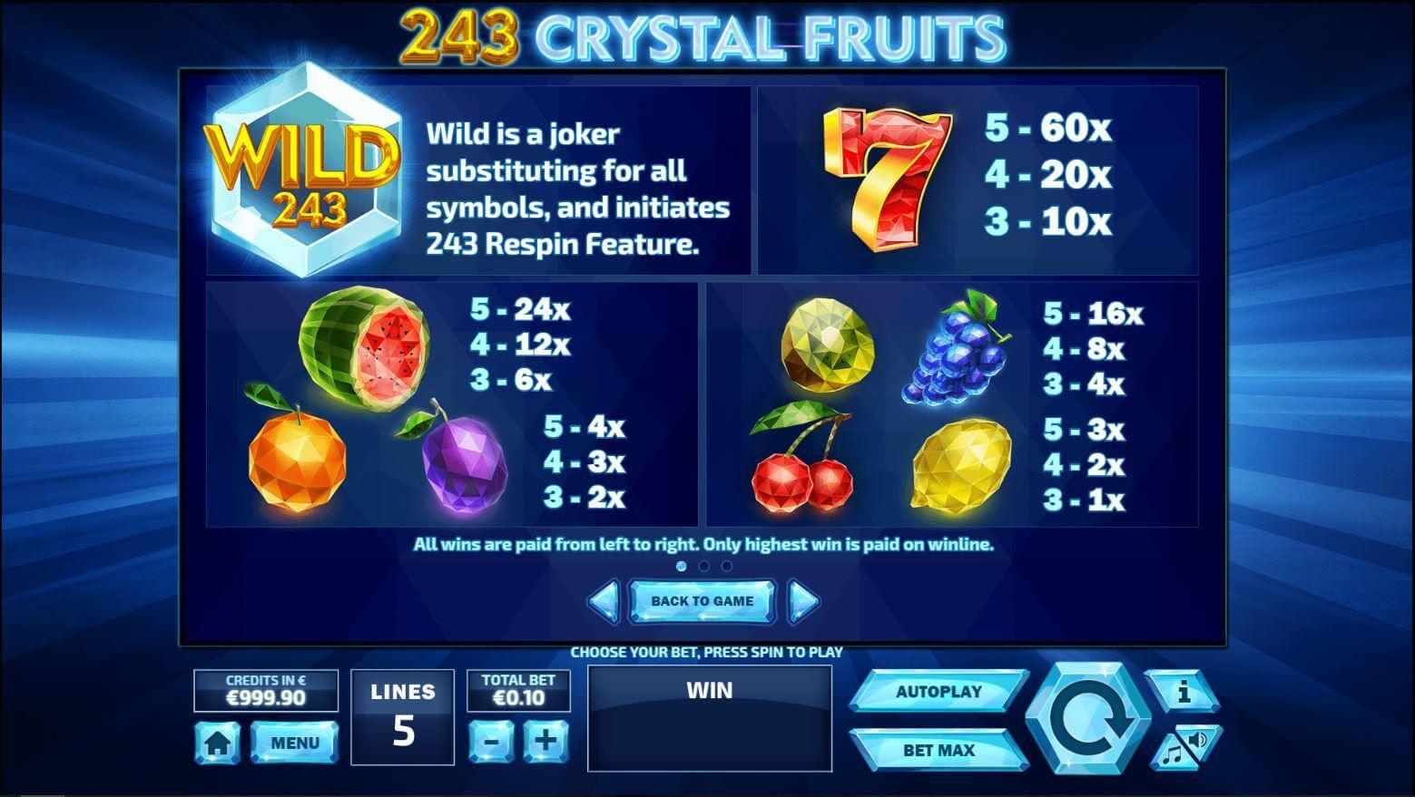 243 Crystal Fruits Bonus
