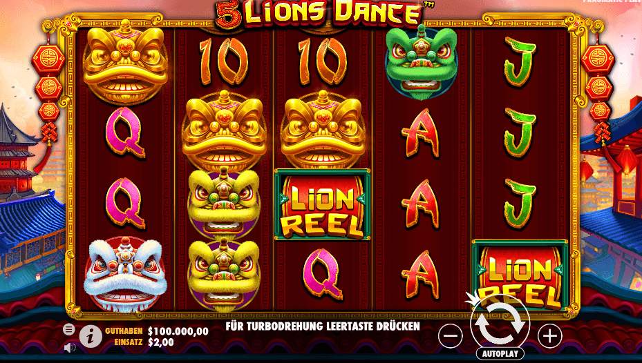 5 Lions Dance Slot Gameplay