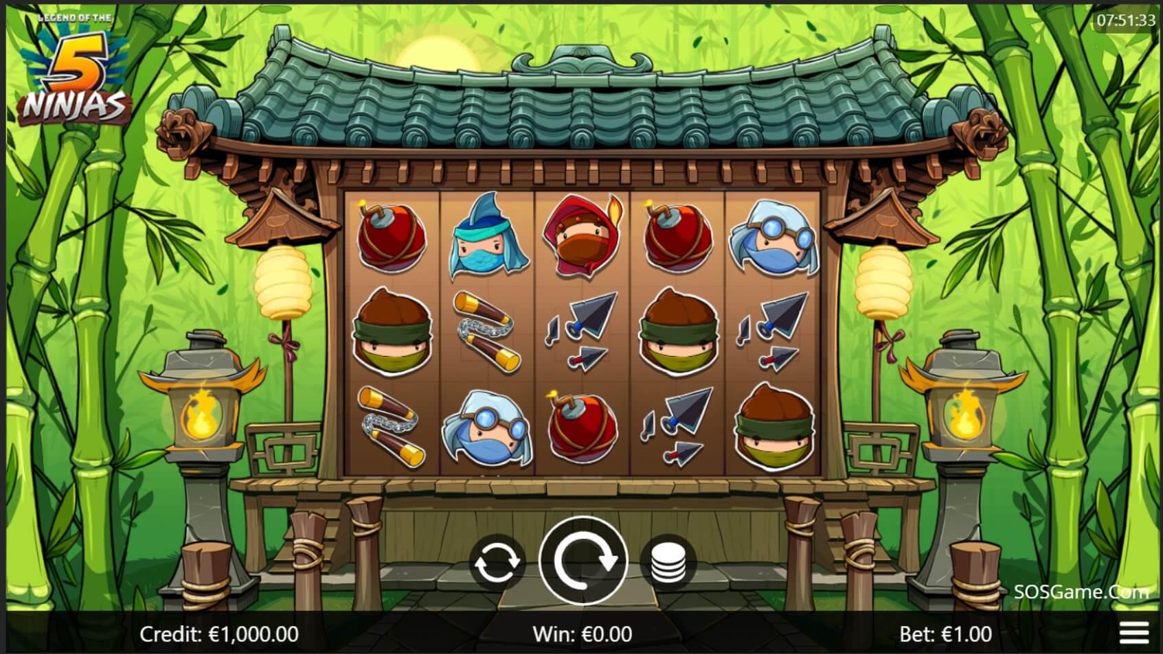 5 Ninjas Slot Gameplay
