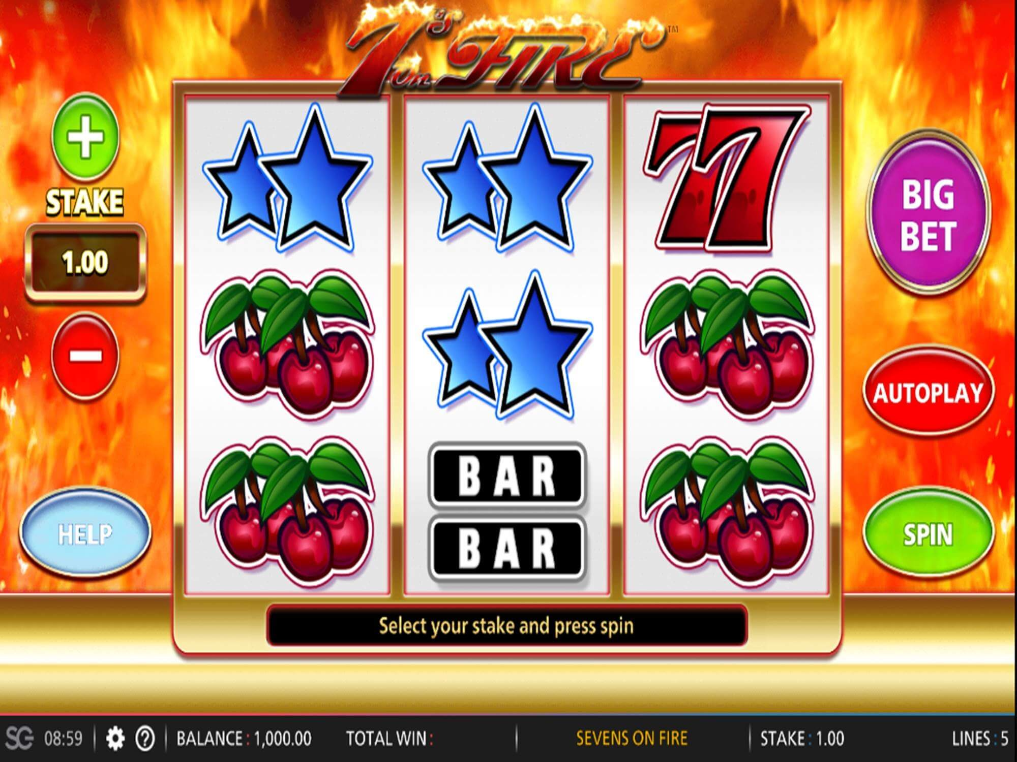 7s on Fire Slot Gameplay