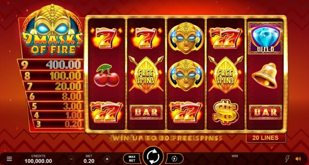 9 Masks of Fire Slot Bonus