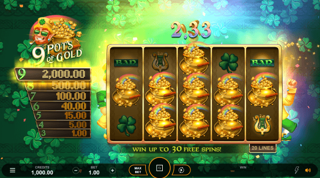 9 Pots of Gold Slot Gameplay