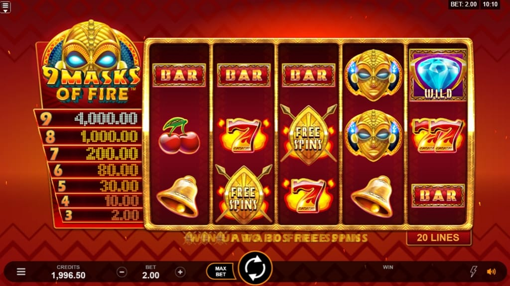 9 Masks of Fire gameplay slot