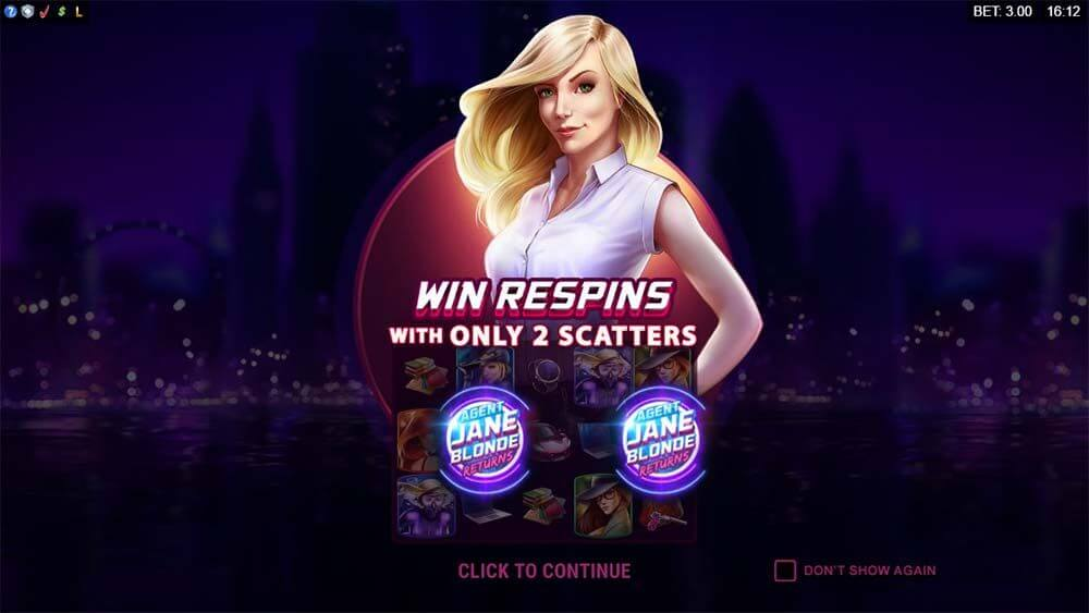 Agent Jane Blonde Returns Slot Bonus