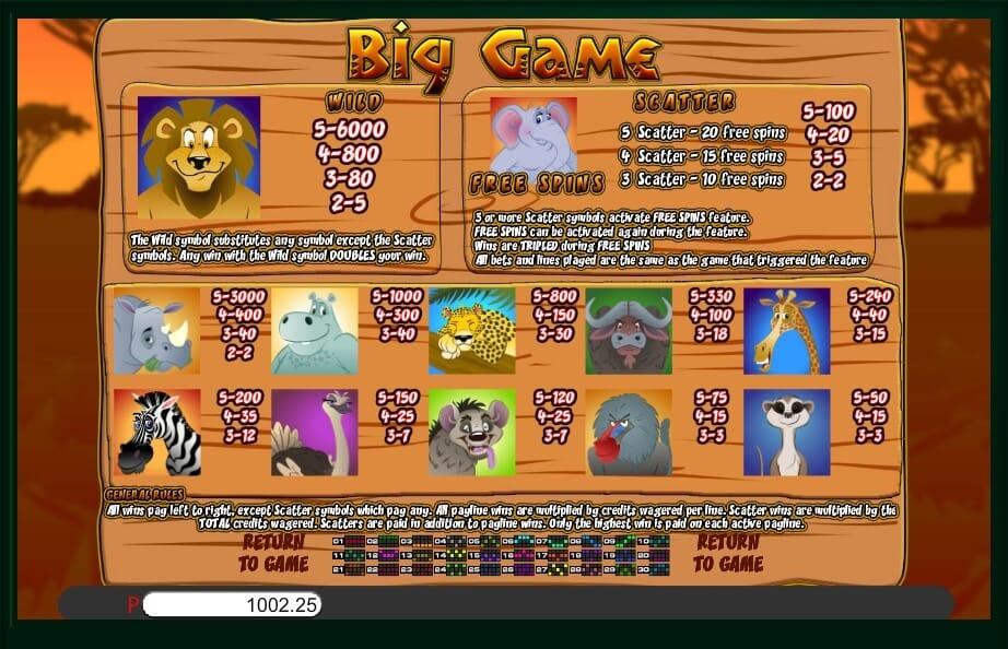 Big Game Slot Bonus