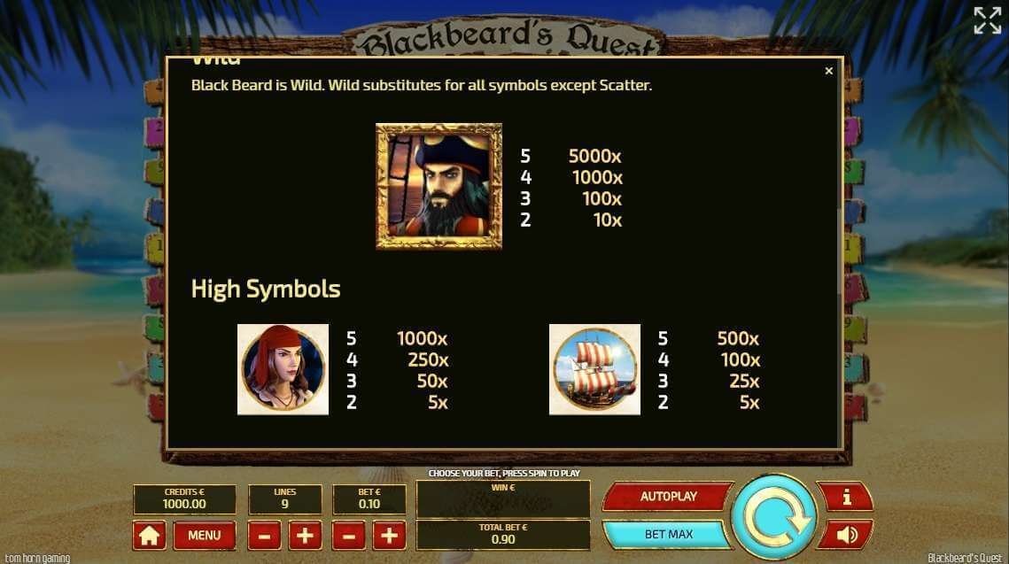 Blackbeards Quest Slot Bonus