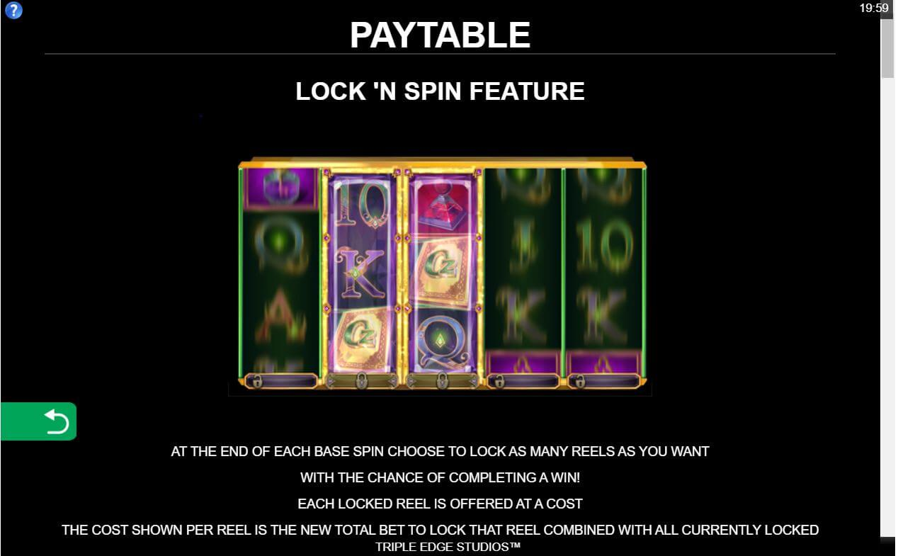 Book of Oz Lock N Spin Bonus