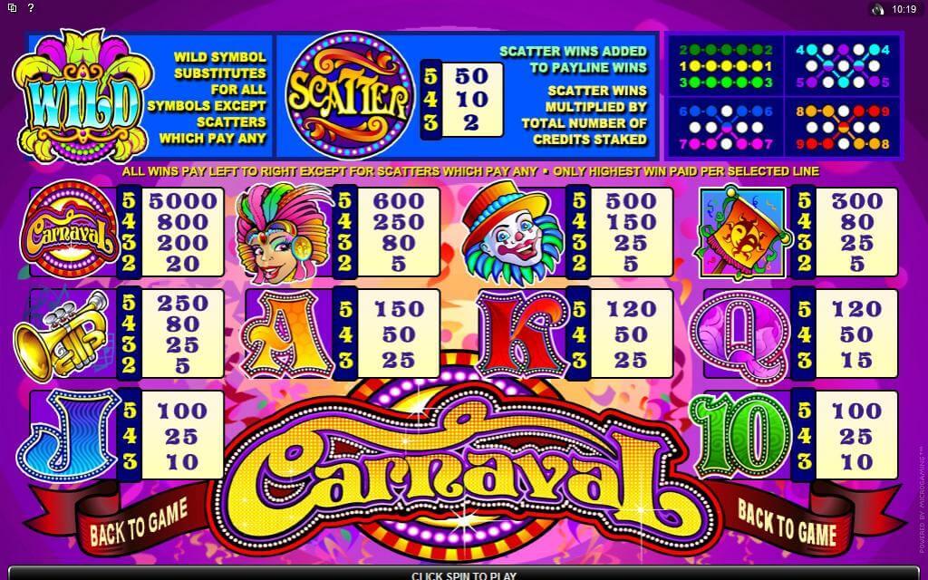 Carnaval Slot Bonus