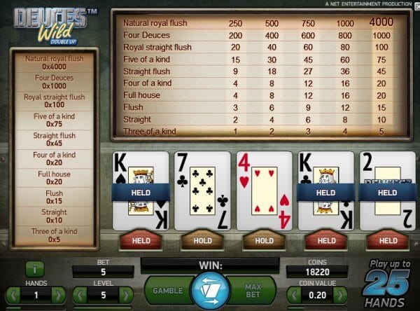 Deuces Wild Double Up Slot Gameplay
