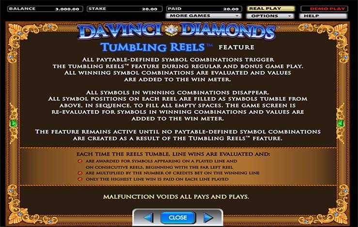 Diamonds by Da Vinci Slot Gameplay