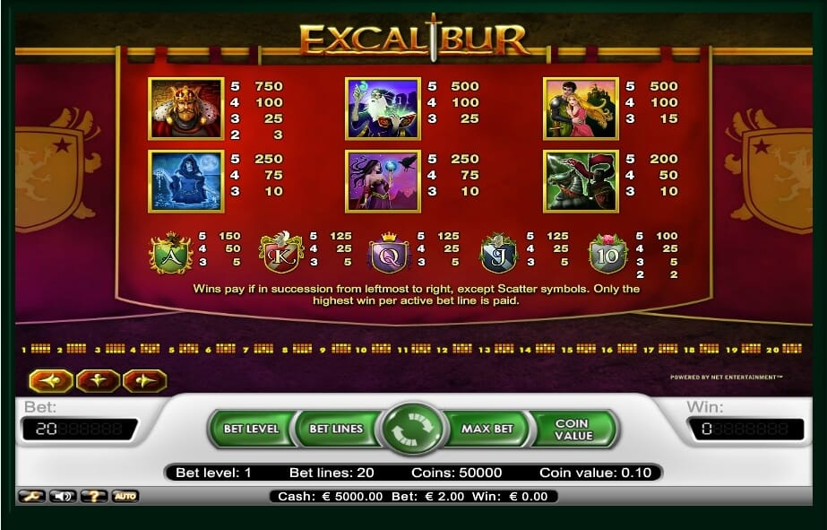 Excalibur Slot Bonus