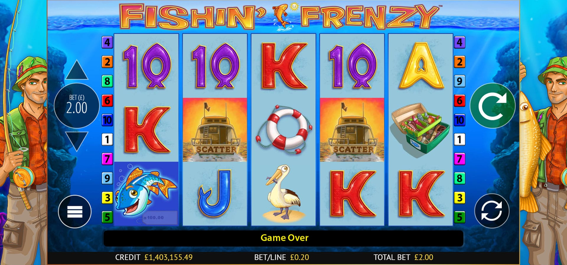 fishin frenzy gameplay bingo
