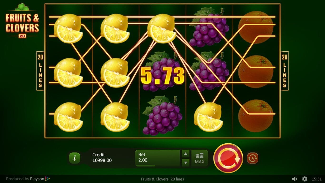 Fruits & Clovers 20 Lines Slot Bonus