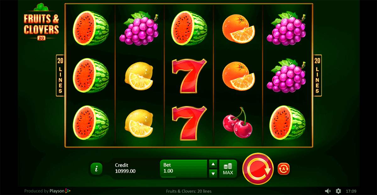 Fruits & Clovers 20 Lines Slot Gameplay