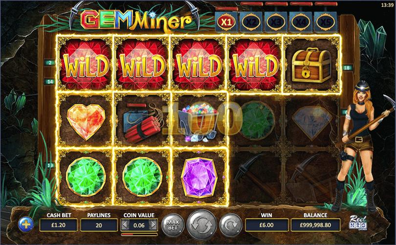 Gem Miner Slot Gameplay