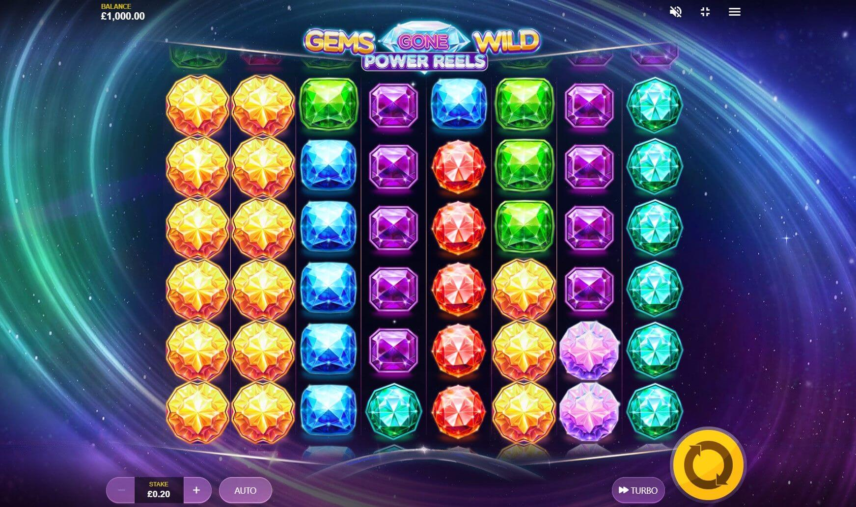 Gems Gone Wild Power Reels Slot Bonus
