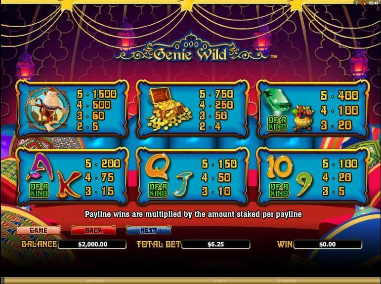 Genie Wild Slot Bonus
