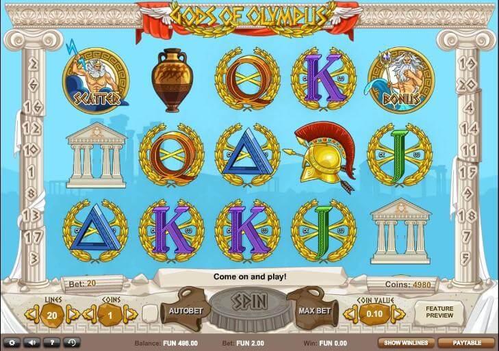 Gods of Olympus Slot Bonus