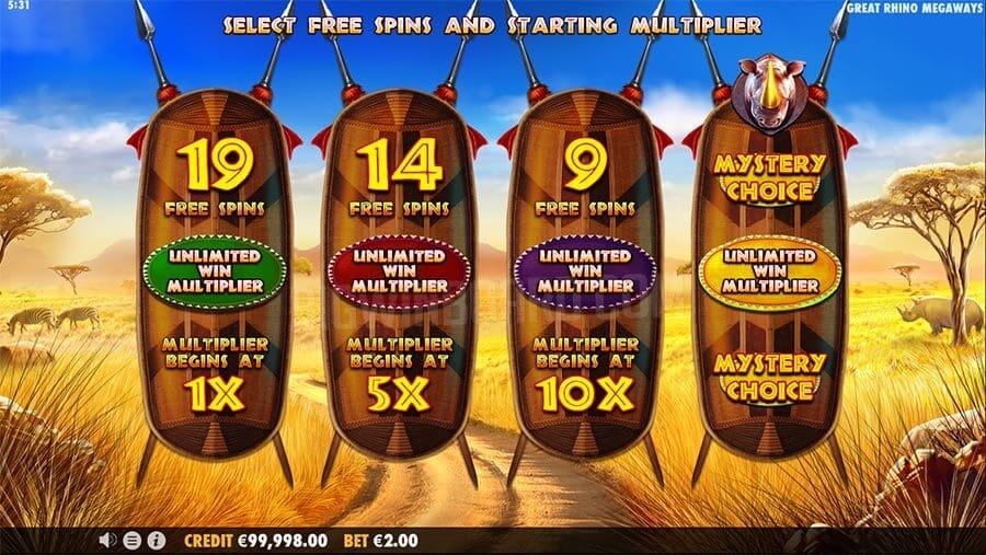 Great Rhino Megaways Slot  Bonus