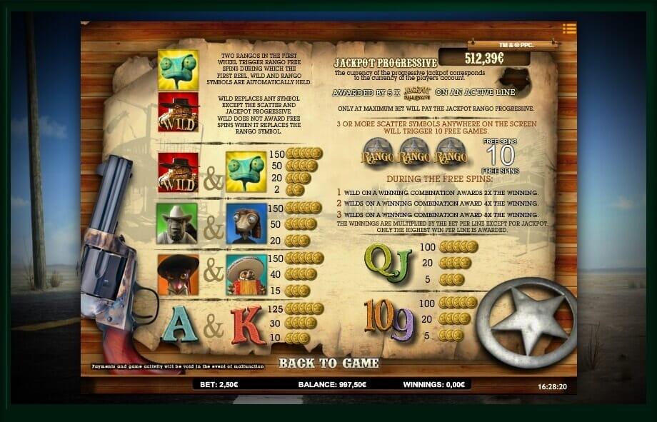 Jackpot Rango Slot Bonus