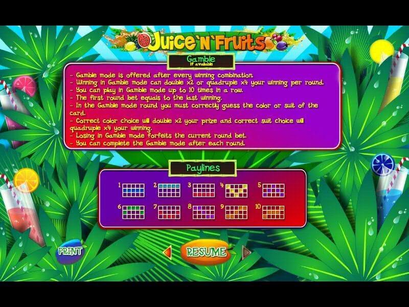 Juice N Fruits Slot Bonus