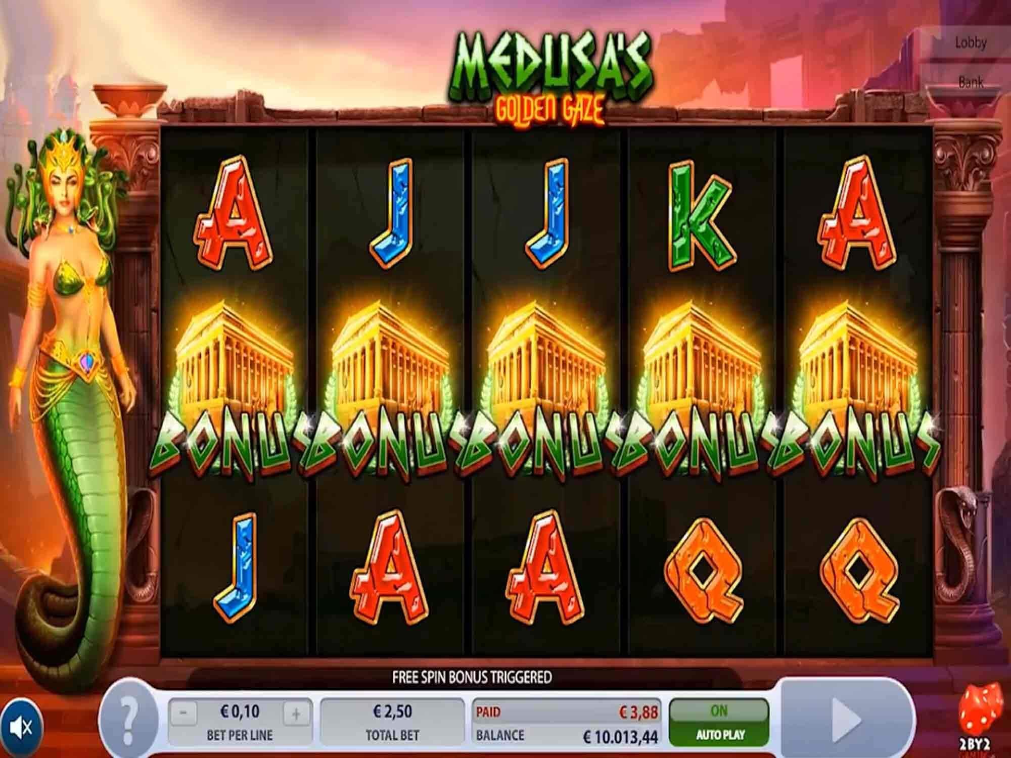 Medusa's Golden Gaze Slot Bonus