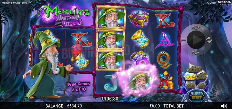 Merlin's Money Burst Slot Bonus