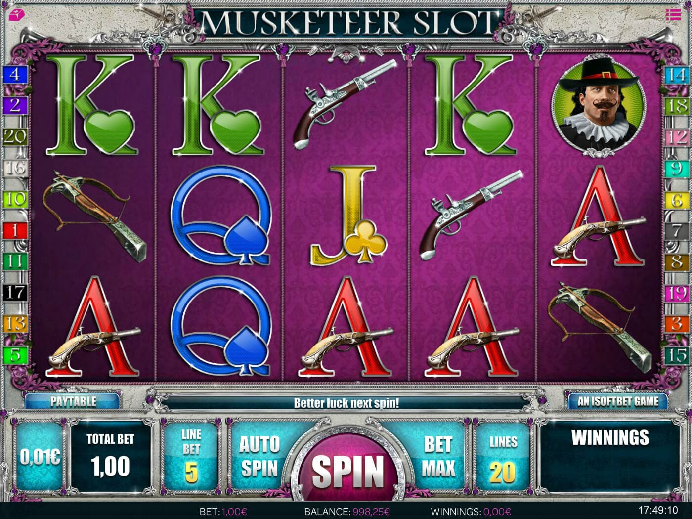 Musketeer Slot Gameplay