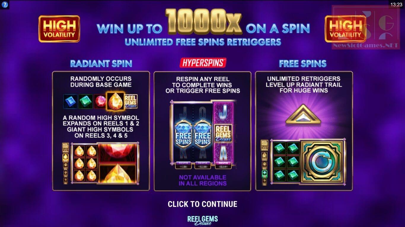 Reel Gems Deluxe Slot Bonus