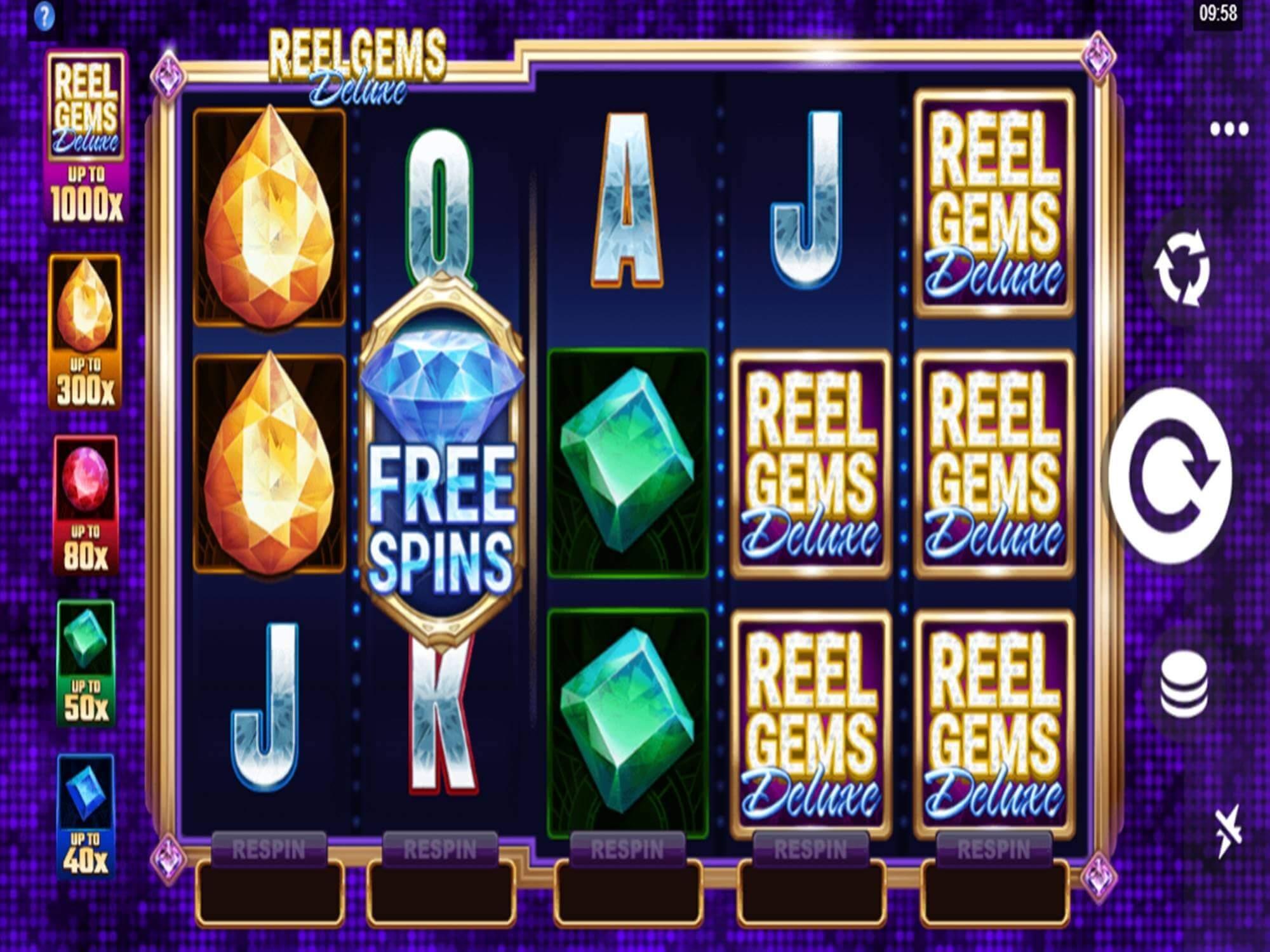 Reel Gems Deluxe Slot Gameplay