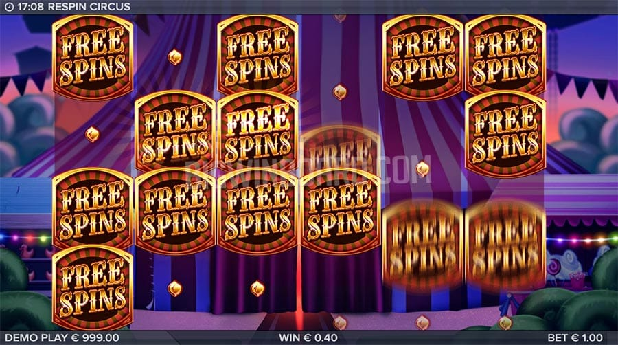 Respin Circus Video Slot Gameplay