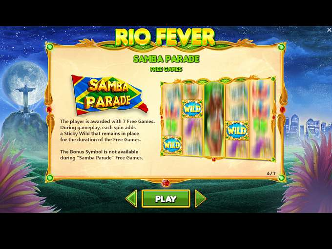 Rio Fever Slot Paytable