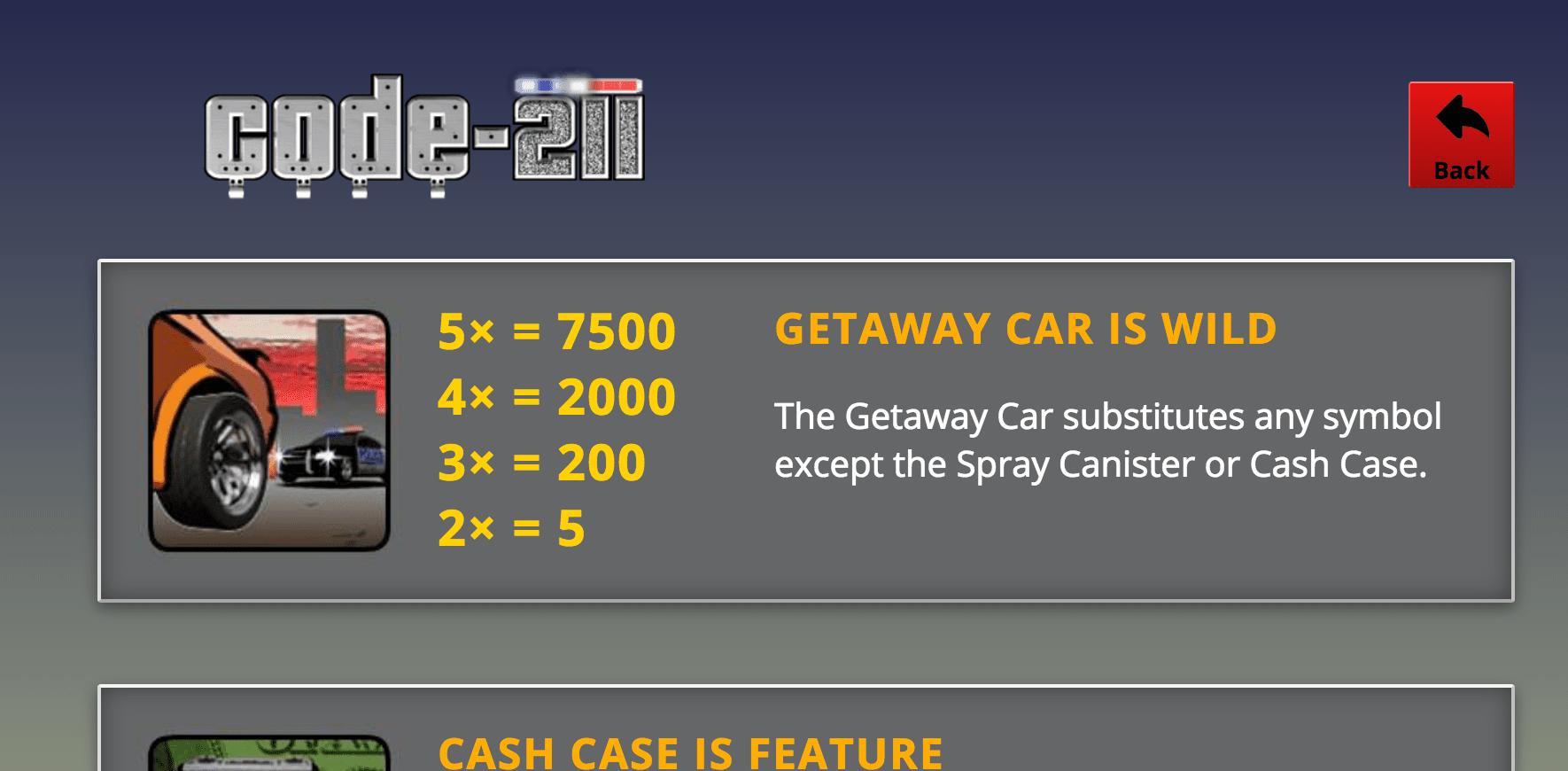 code 211 slots game help