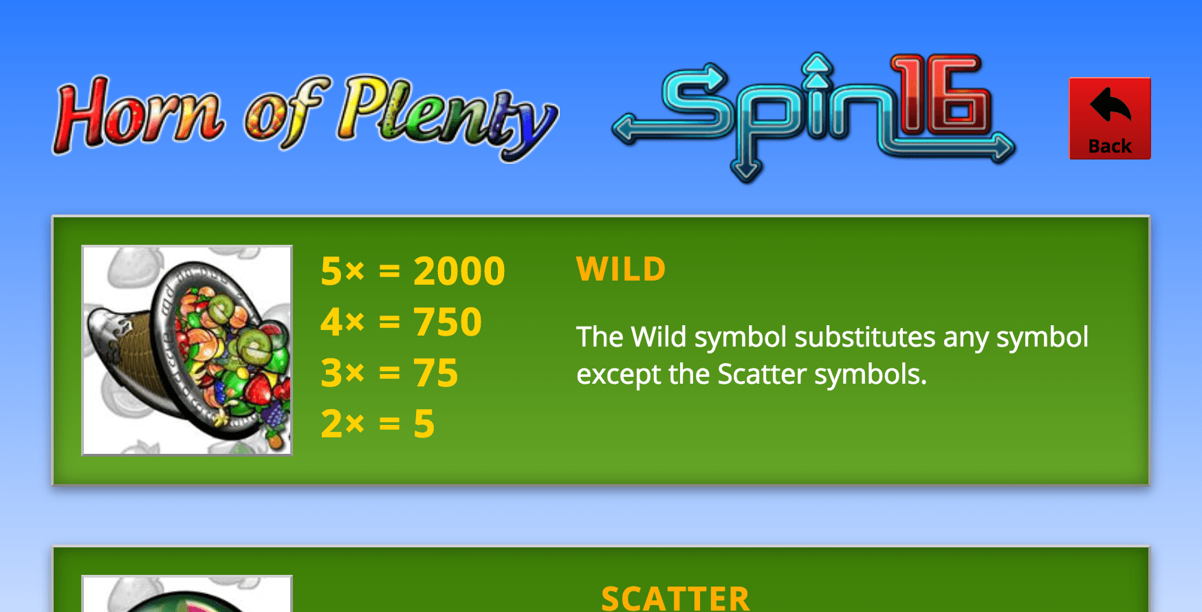 horn of plenty spin 16 online game help