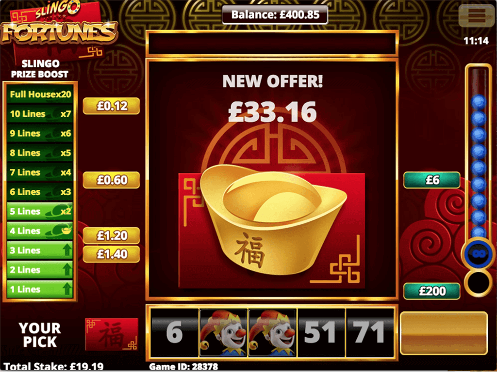 Slingo Fortunes Slot Bonus