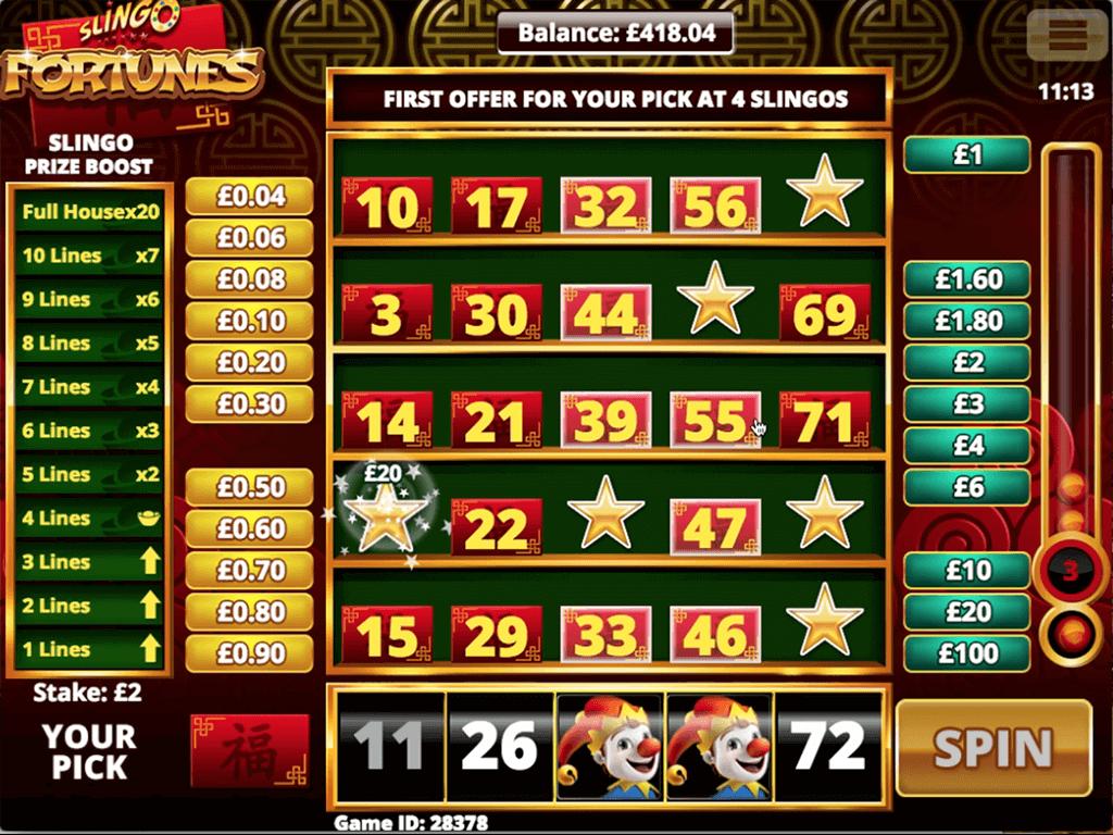Slingo Fortunes Slot Gameplay