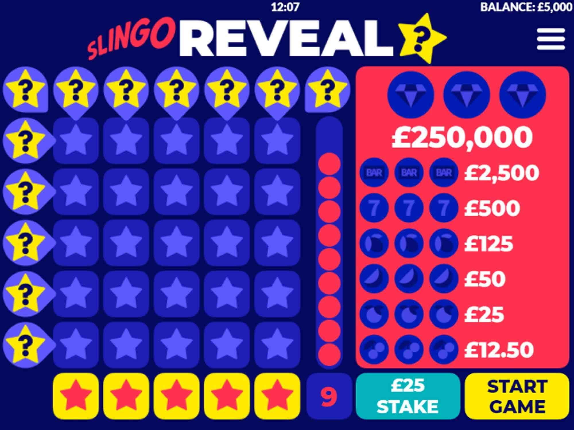 Slingo Reveal Slot Gameplay