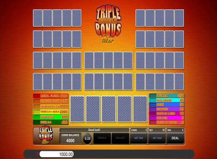 Triple Double Bonus Poker S Bonus