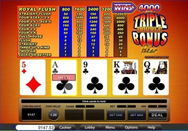 Triple Double Bonus Poker S Gameplay