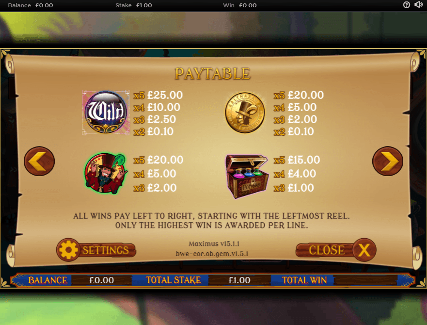 Screenshot from Balthazar's Wild Emporium slot game