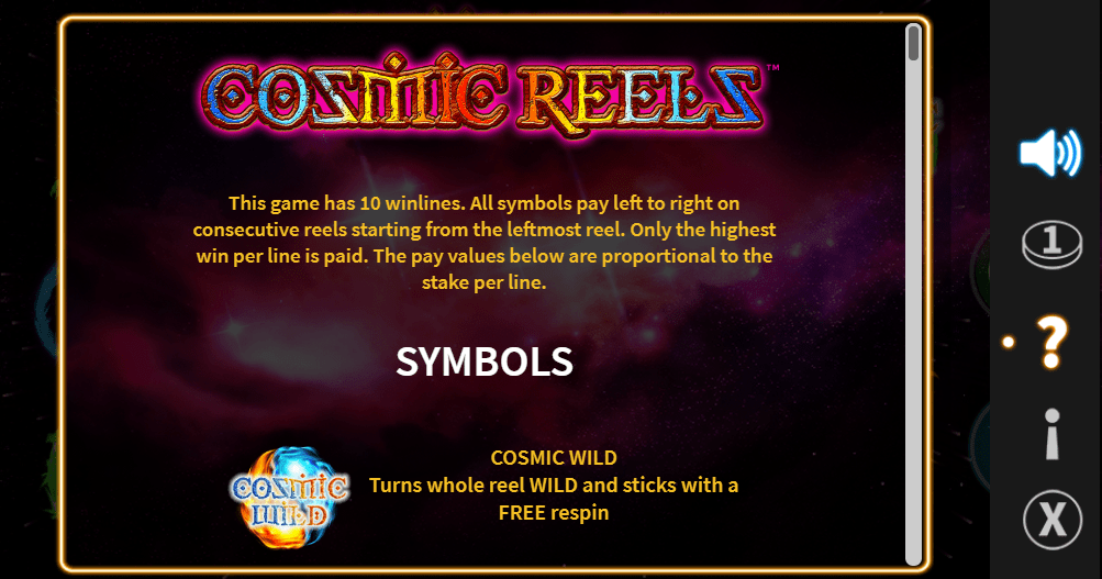 cosmic reels casino game online