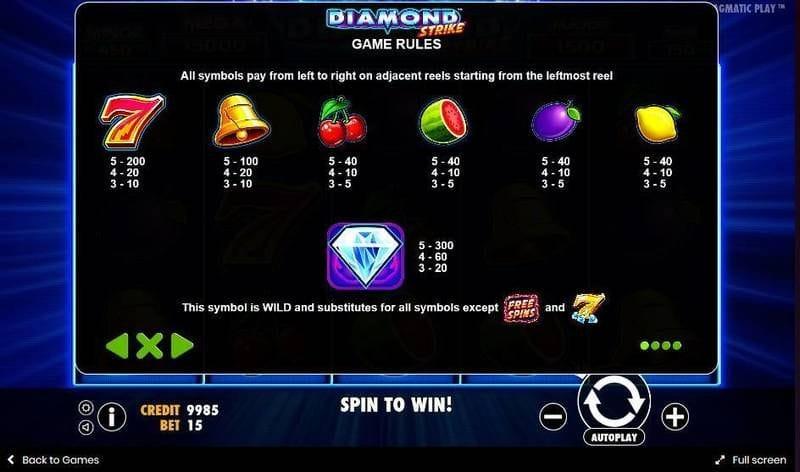 diamond strike game slots help