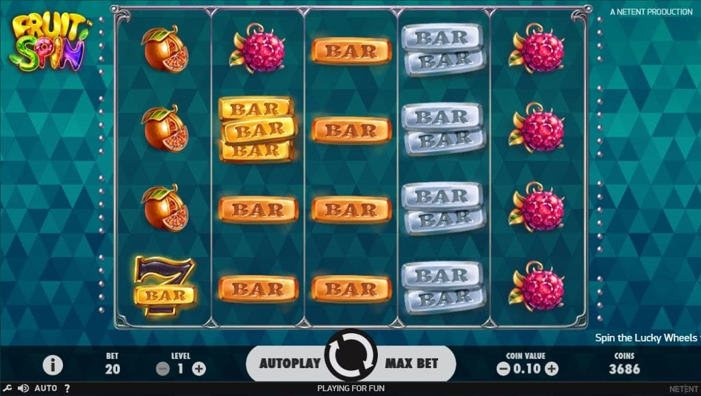 Gameplay from slot game Fruit Spin