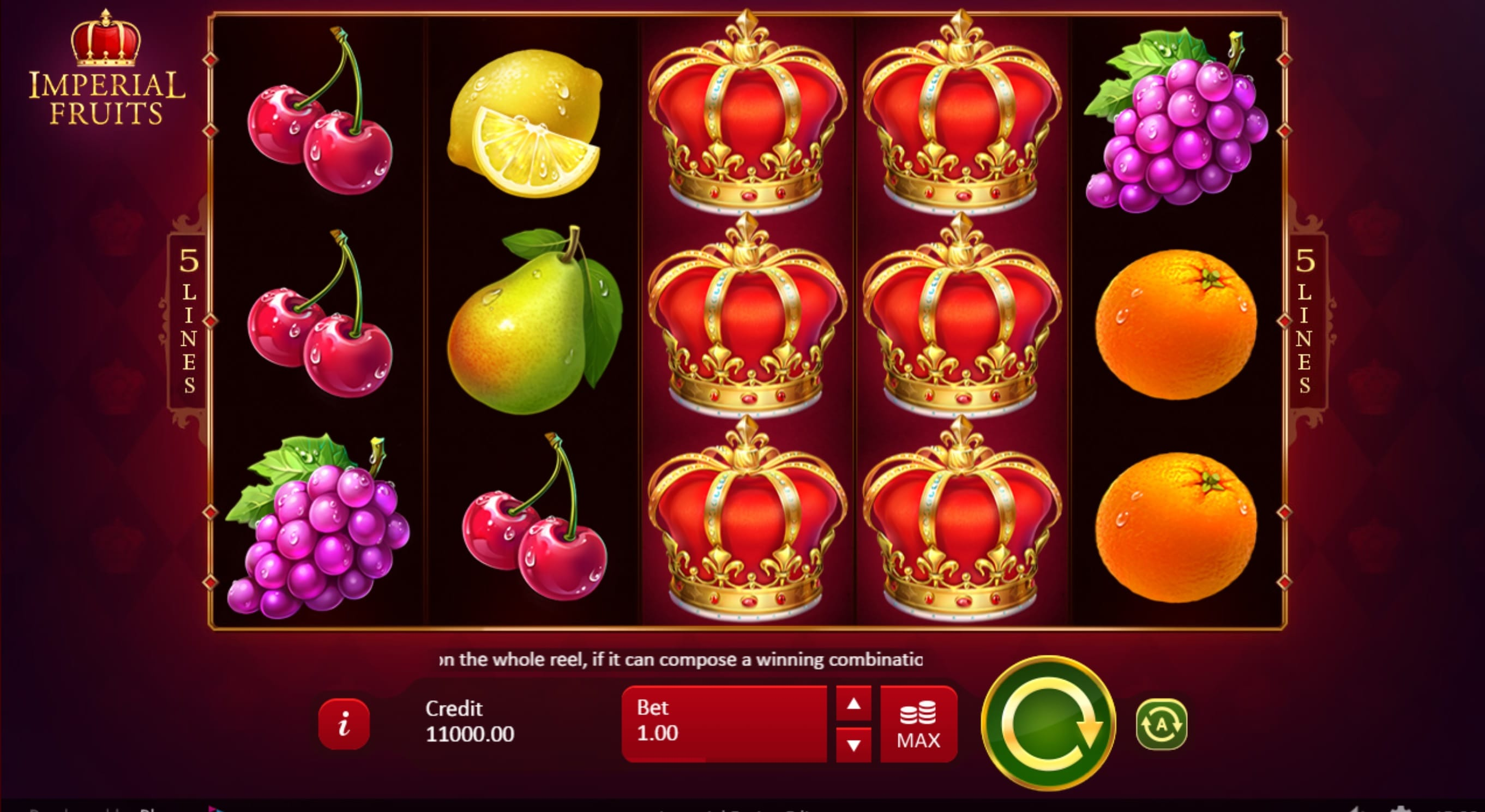 Imperial Fruits: 5 Lines Gameplay Casino