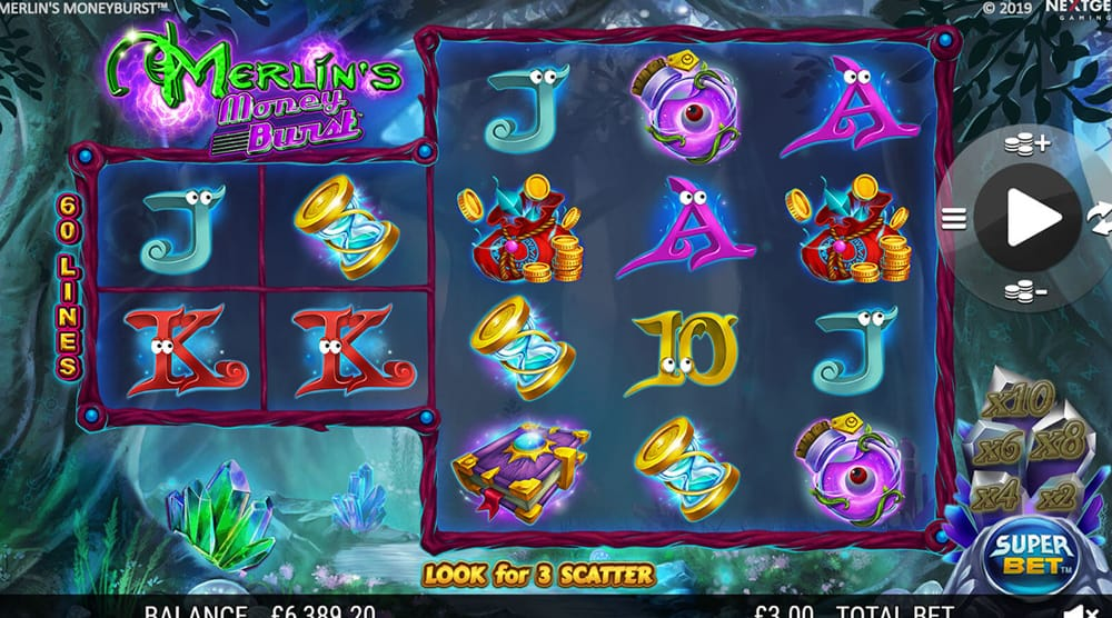 Merlin's Money Burst Casino Gameplay