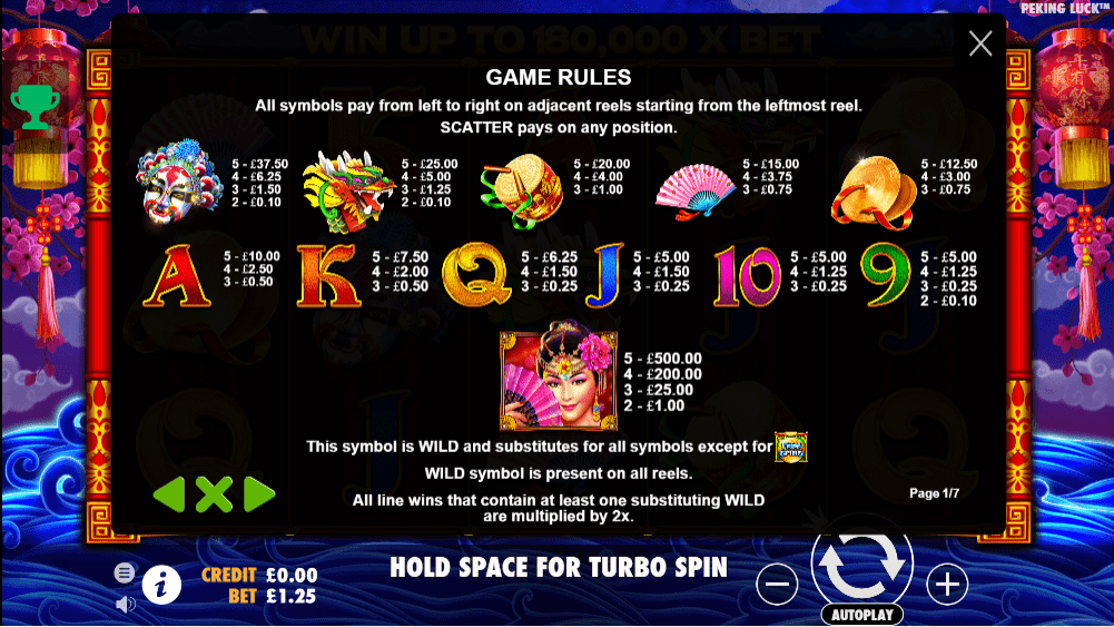 peking luck game casino play