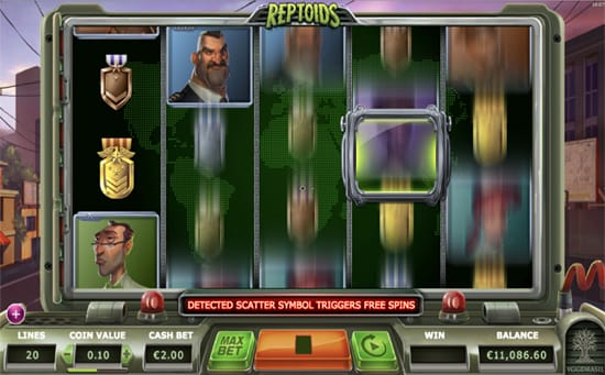 Reptoids online slot gameplay
