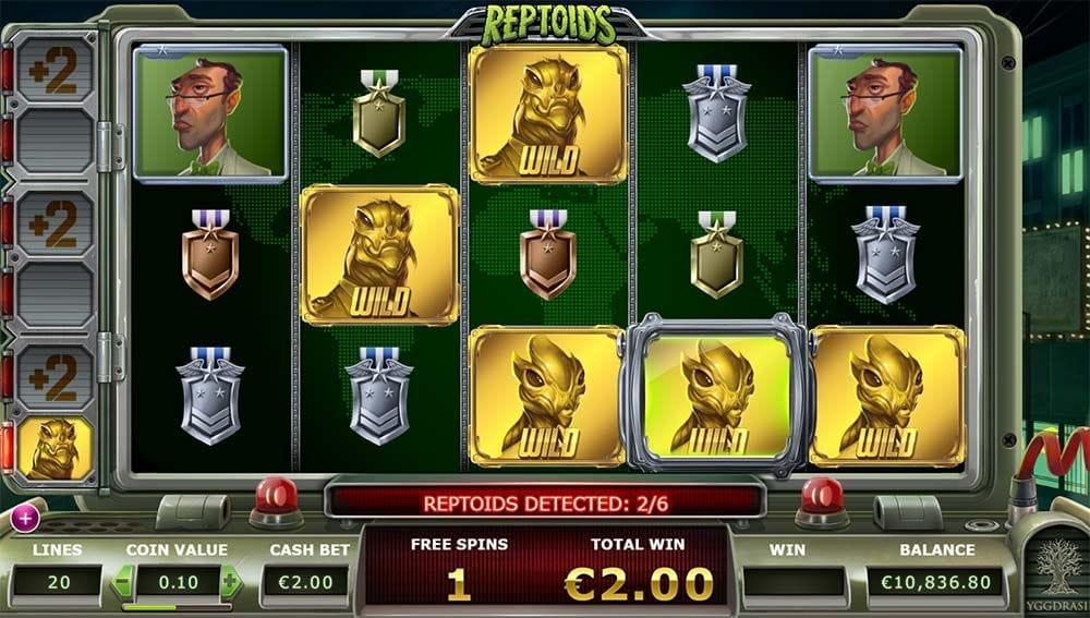 Screenshot from Reptoids online slot