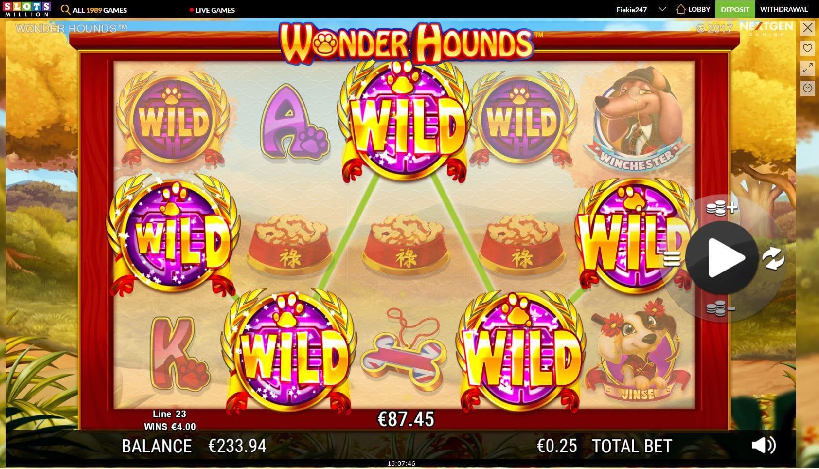 Wonder Hounds online slot gameplay